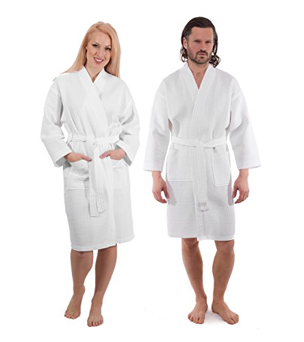 Luxury Waffle Weave Bathrobe - Spa and Hotel Quality Robe for Men and Women - Made with Turkish Cotton White s/m