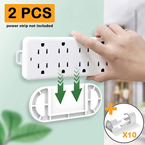 Power Strip Holder Wall Mount Self Adhesive 2PCS WiFi Router Surge Protector Power Socket Remote Control Outlet Fixator for Desktop Under Desk Organize Home and Office