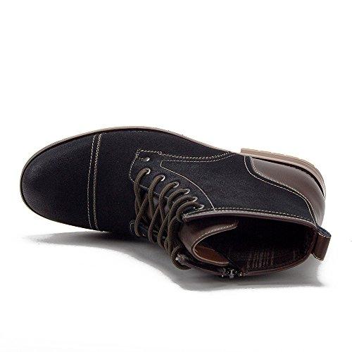 Hommes Ferro Aldo Cap Toe Style Militaire Zippé 2 Ton Robe De Travail Occasionnel Bottes Noires