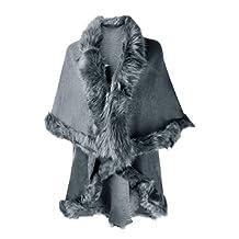 ZLYC Women Fine Knit Open Front Faux Fur Trim Layers Poncho Cape Cardigan Sweater