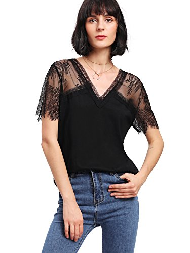 MAKEMECHIC Women's Floral Lace Short Sleeve Tee V Neck Contrast Mesh Top Black L
