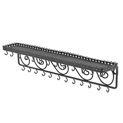 MyGift Wall Mounted Black Metal Scrollwork Design Cosmetics Storage Shelf w/25 Necklace Hanging Hooks