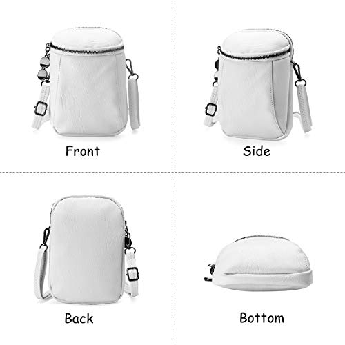 Travel Bag Little Phone Crossbody grey Bag for Bag Women Vintage Round Women Leather Girls Bucket PU Bag JOSEKO Ladies Casual for White 6Zqn0811