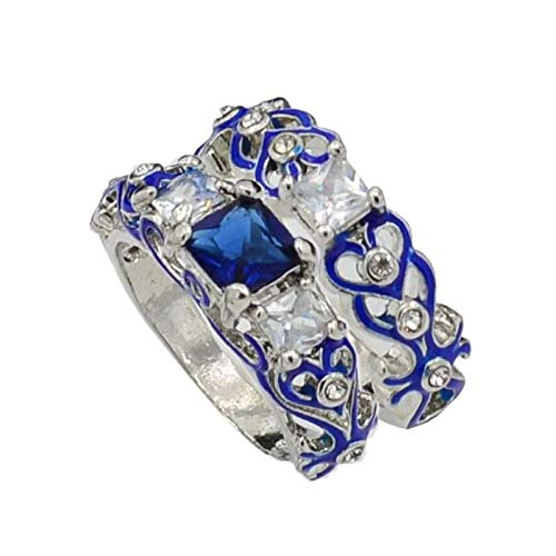 Tuu Luxury Rings,Square Alloy Ring Finger Ring Accessories 2-in-1 Jewelry Gift (Blue)