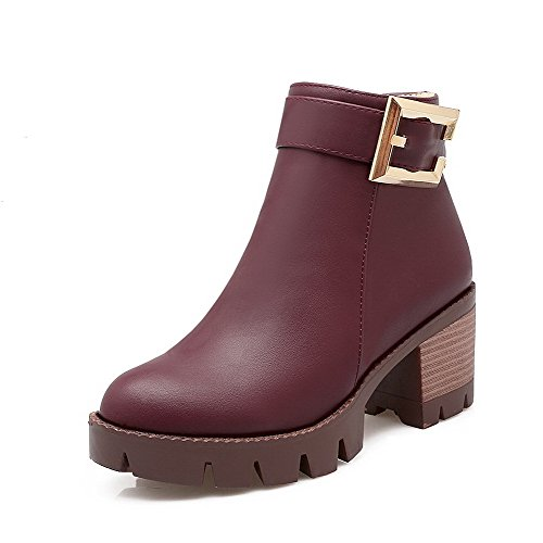 Allhqfashion Women's Solid Kitten-Heels Round Closed Toe PU Zipper Boots Claret QmKERwwPil