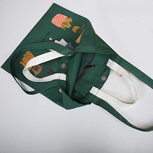 Vitale Bag Messaggero Shopping Tracolla Di Tela Per Borsa Grande Leisial Bianco Capacità Riutilizzabile Stampa Ragazza A Studenti Owq6ygXY