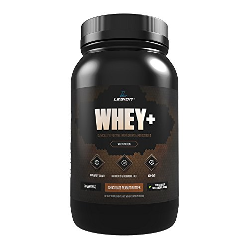 Legion Whey+ Chocolate Peanut Butter Whey Isolate Protein Powder from Grass Fed Cows - Low Carb, Low Calorie, Non-GMO, Lactose Free, Gluten Free, Sugar Free. Great For Weight Loss, 30 Servings.