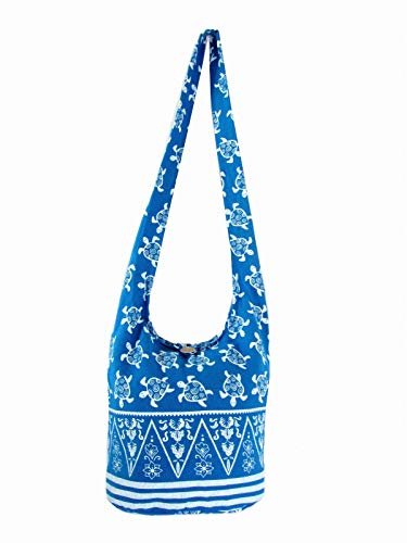 Fully Lined Sea Turtle Crossbody Bag Hippie Hobo Purse Medium (Lined Turquoise Blue) - Bag Shoulder Fully Lined Cotton