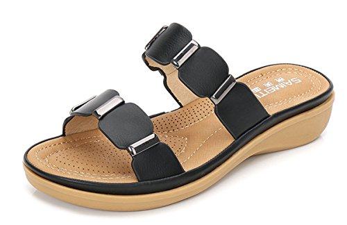 Zapatillas de Moda Sandalias | Sandalias de mujer Señoras sandalias | mujer cool cómodas zapatillas | elegantes, grandes, calzado plano | Recreación suelo al final de la mitad fría zapatillas zapatill Black