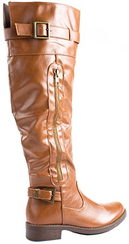 Forever Womens Moto-23 Calf High Boots With Decorative Straps and Zipper Tan aSBe5UNz