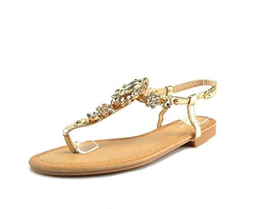 Zehentrenner Sandalen Strass Schuhe Riemchensandalen Sandaletten Strandschuhe Flip-Flop Flach, Damen 0009927 Gold ( Modell 2 )