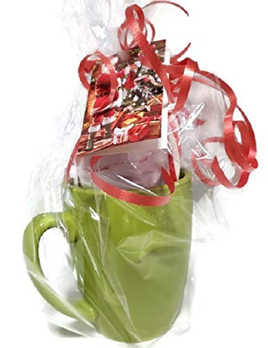 Coffee Mug Gift Set with a variety of 3 Hot Coco Packages and a candy cane (LIME GREEN)