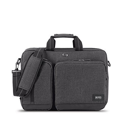 Convertible Computer Briefcase - Solo Duane 15.6 Inch Laptop Hybrid Briefcase, Converts to Backpack, Grey