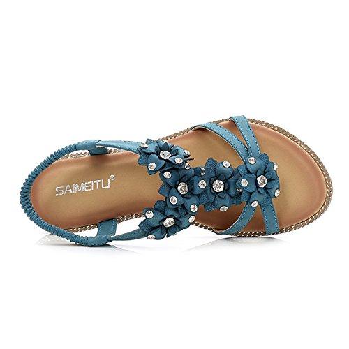 BELLOO Women Summer Boho Sandals Flat Beach Shoes with Ankle Strap Rhinestone Beaded Blue uYQQi8U31f