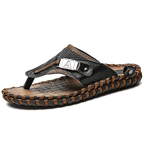 Mens Thong Sandals - FFZC Mens Flip Flop Sandals Thong Indoor and Outdoor Beach Slippers (US-13, Black)