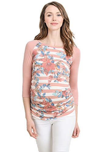 Hello MIZ Women's Maternity T-Shirt Top with Raglan Sleeve (Large, Blush Stripe/Salmon) (Sleeve Out Raglan T-shirt 3/4)