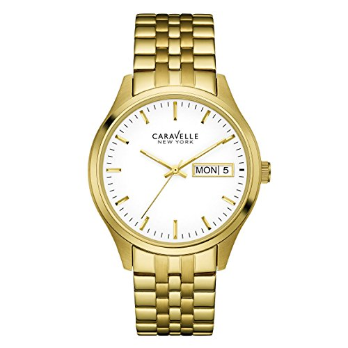 Caravelle Mens Bracelet - Caravelle 44C106 Men's Corporate Exclusive White Dial Yellow Gold Stainless Steel Bracelet Watch