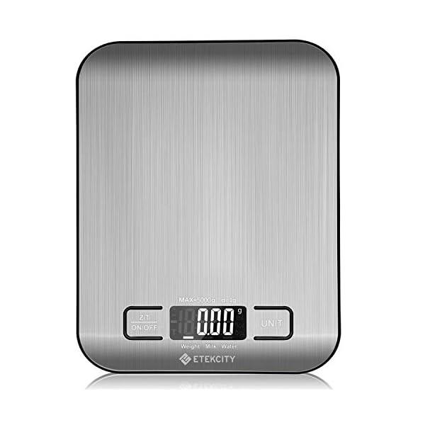 Etekcity Báscula Digital para Cocina de Acero Inoxidable, 5kg/11 lbs Bascula Comida de Precisión, Balanza de Alimento Multifuncional, Peso de Cocina con LCD Retroiluminación, Plata Baterías Incluidas 41xWtSMgjdL