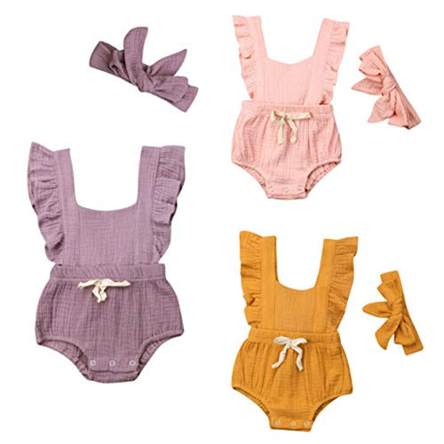 (Yaoyaou Infant Baby Girl Rompers Toddler Flutter Sleeve Ruffle Jumpsuit Bodysuits + Headband 2Pcs Outfits Clothes (3-6 Months, Pink))