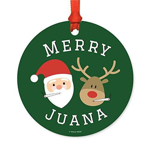Andaz Press Marijuana Pot Cannabis Weed Round Metal Christmas Ornaments, Merry Juana Reindeer Smoking Pot Cigarette, Includes Ribbon and Gift Bag, Stoned Stoner Xmas Present Ideas