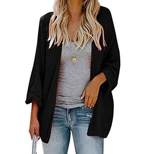 8067f6c4bc7 Allumk Womens Lightweight Long Sleeve Loose Open Front Knit Cardigan  Sweaters