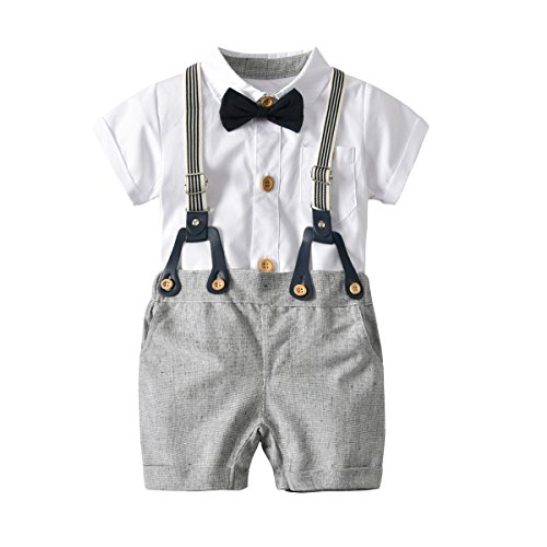 Shirt Pants Bib (Fairy Baby Baby Boys Short Sleeve Gentleman Outfits Suits,White Shirt+Bib Pants+Bow Tie Clothing Set Size 6-9 Months (White))