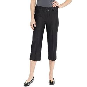 Rekucci Women's Ease in to Comfort Fit Dressy Capri (14,Black Denim)