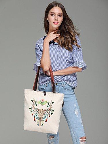 So'each Women's Deer Skull Art Pattern Canvas Handbag Tote Shoulder Bag
