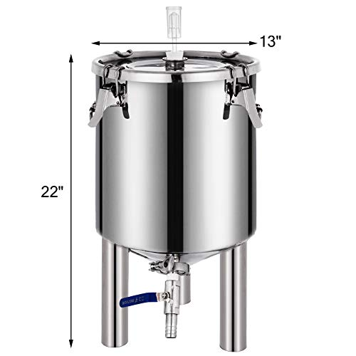 VEVOR 7 Gallon Stainless Steel Brew Fermenter Home Brewing Brew Bucket Fermenter With conical base Brewing Equipment by Vevor (Image #1)