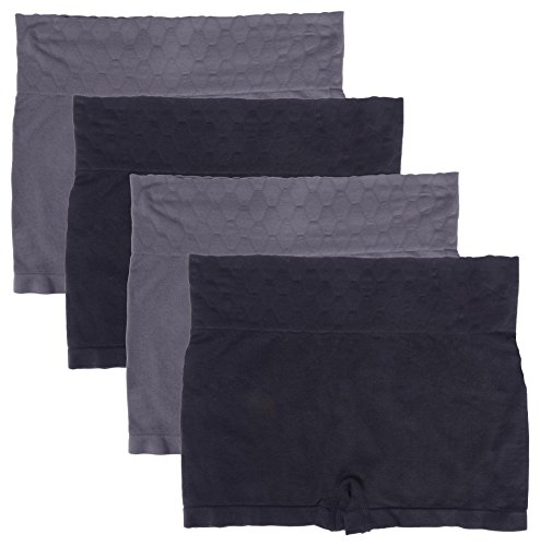 WunderWear Women's 4 Pack Seamless Compression Shaping Boy Shorts (Grey, Black, 2X)