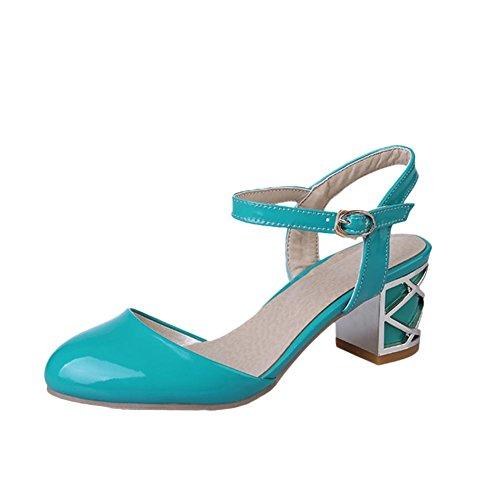 Carolbar Hebilla De Charol De Mujer Del Vestido Del Encanto Sandalias De Tacón Medio Grueso Azul Marino Verde