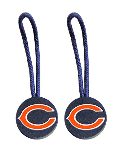 NFL Chicago Bears Zipper Pull Charm Tag Set for Luggage & Pet ID (2 Pack), One Size, Blue (Bears Luggage Tag)