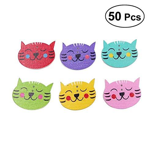 50pcs DIY 2 Holes Cat Pattern Wood Buttons Big Cat Face Pattern Lovely Cartoon Wooden Press Studs Snaps Buttons