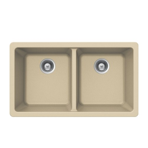 Houzer M-200U SAND Quartztone Series Granite Undermount 50/50 Double Bowl Kitchen Sink, (E-granite Double Bowl Undermount Sink)