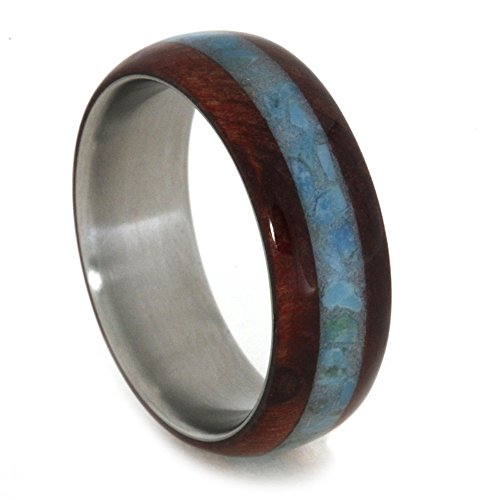 Turquoise, Ruby Redwood 7mm Comfort-Fit Matte Titanium Band, Size 16 by The Men's Jewelry Store (Unisex Jewelry)