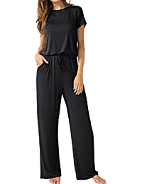 Womens Casual O Neck Loose Wide Legs Jumpsuits with Pockets