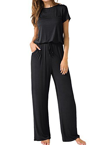 LAINAB Womens Casual Short Sleeve O Neck Wide Legs Playsuits Jumpsuits Black L