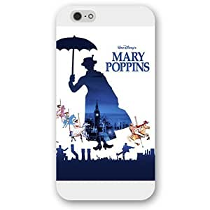 Customized White Hard Plastic Disney Cartoon Mary Poppins iPhone 5c Case, Only fit iPhone 6 ""
