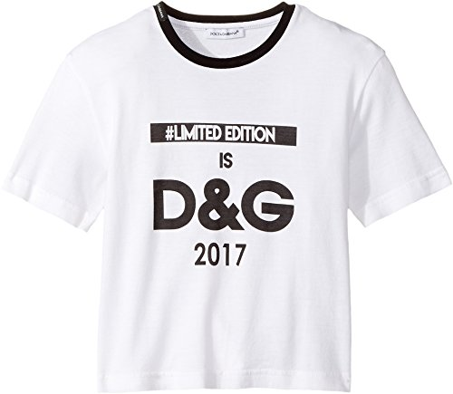 Dolce & Gabbana Kids Baby Girl's Logo T-Shirt (Toddler/Little Kids) White Print T-Shirt by Dolce & Gabbana