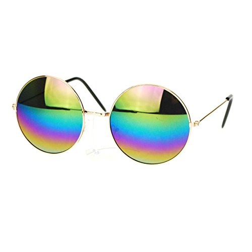 Rainbow Mirror Lens - Rainbow Mirror Lens Round Circle Metal Frame Womens Sunglasses Gold
