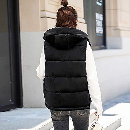 Women Thick Women Beautiful Outerwear Waistcoat Cardigan Sleeveless Black Overcoat Warm Winter Hoodie Daily Hooded Coat Slim Solid Jersh Fashion 8dEBq8