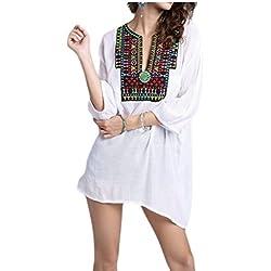 ainr para mujer bordado Túnica mexicano Tops Bohemia camisas blusa campesina, Blanco, US M