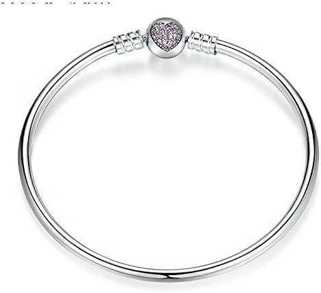Pandora Bangle Pink Heart Pave Clasp19cm: Amazon.co.uk: Jewellery