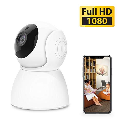 1080p Home Camera,Indoor Wireless WiFi Home IP Security Camera,AAJO Panoramic Pet Camera, Baby Monitor with 2-Way Audio, Night Vision, Remote Monitor with iOS & Android App (White)