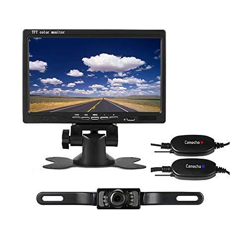 Wireless Backup Camera Car RC 12V 24V License Plate IR Night Vision Waterproof Rear View Camera + 7