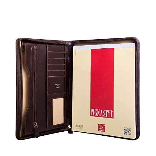 Maxwell Scott Personalized Luxury Brown Leather Conference Folder (The Dimaro)