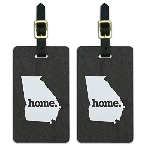 Georgia GA Home State Luggage Suitcase ID Tags Set of 2 - Textured Dark Grey Gray