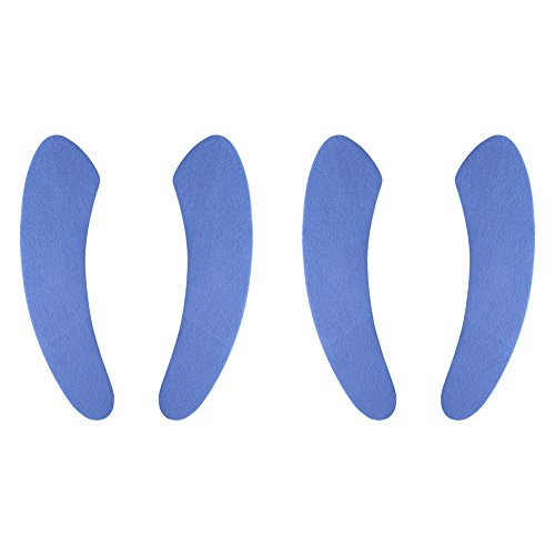 Toilet Seat Cover Pad, saounisi Fabric Cushion Soft Warm Fuzzy Oval Round Elongated Adhesive Washable Stickers Blue 2 Set