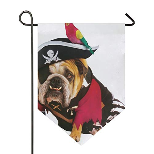 Halloween Pirate Dog Garden Flag Indoor & Outdoor Decorative Flags for Parade Sports Game Family Party Wall Banner Season Porch Lawn Double Sided 12 x 18.5 inches