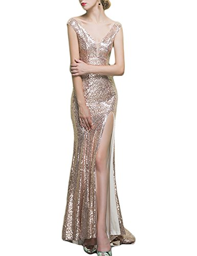 2018 Evening Dress Plus Size Long Womens Prom Party Gowns Formal Celebrity Empire Waist Bodycon Ball Gown Split Side EV605 Rose Gold Size - To Celebrities Up Female Dress As